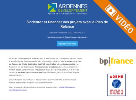 S'orienter et financer ses projets avec le Plan de Relance - webinaire