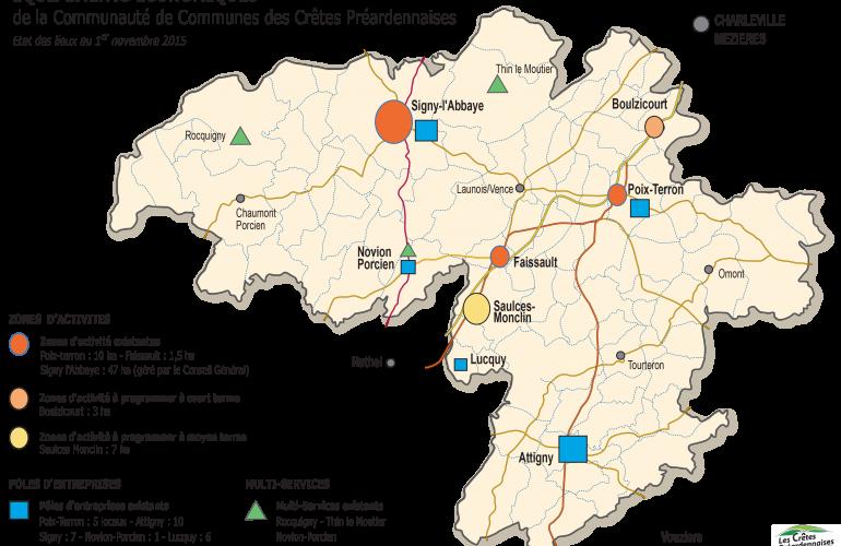 Afin d'améliorer les conditions d'accueil et de développement des entreprises, la Communauté de Communes des Crêtes Préardennaises démarre les travaux d'une nouvelle zone d'activités à Boulzicourt, dans les Ardennes au Nord-Est de la France