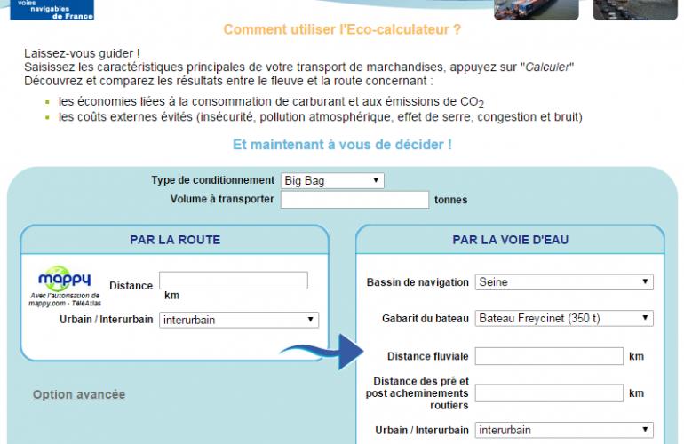 L'éco-calculateur de VNF permet gratuitement via un simple accès à Internet un calcul global des impacts du transport fluvial, dans les Ardennes au Nord-Est de la France