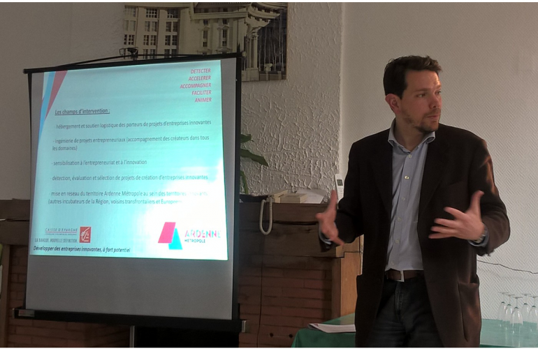 At a business leaders' meeting in May, the president of Ardenne Métropole, Boris Ravignon, introduced the brand new regional incubator Rimbaud'Tech