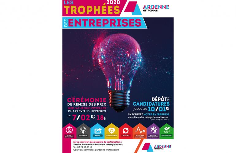 Manifestation organisée par Ardenne Métropole, les Trophées des Entreprises récompensent chaque année l'initiative entrepreneuriale du territoire sous toutes ses formes : innovation, dynamisme, export